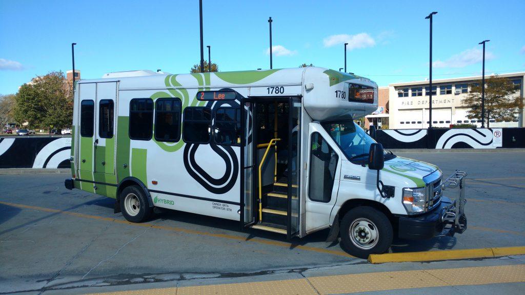 Hybrid Bus with Door Open