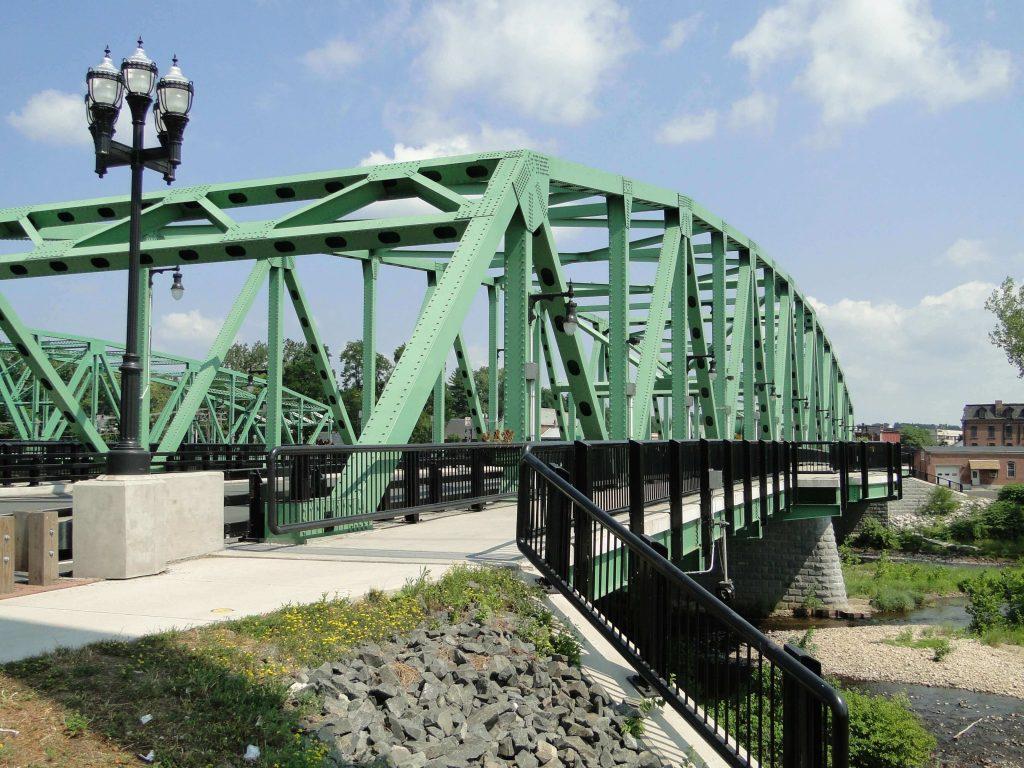 Pedestrian and Roadway Bridge Above Water