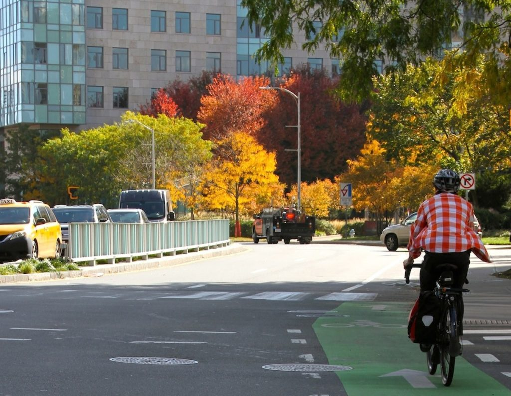 Cyclist on Longfellow Bridge