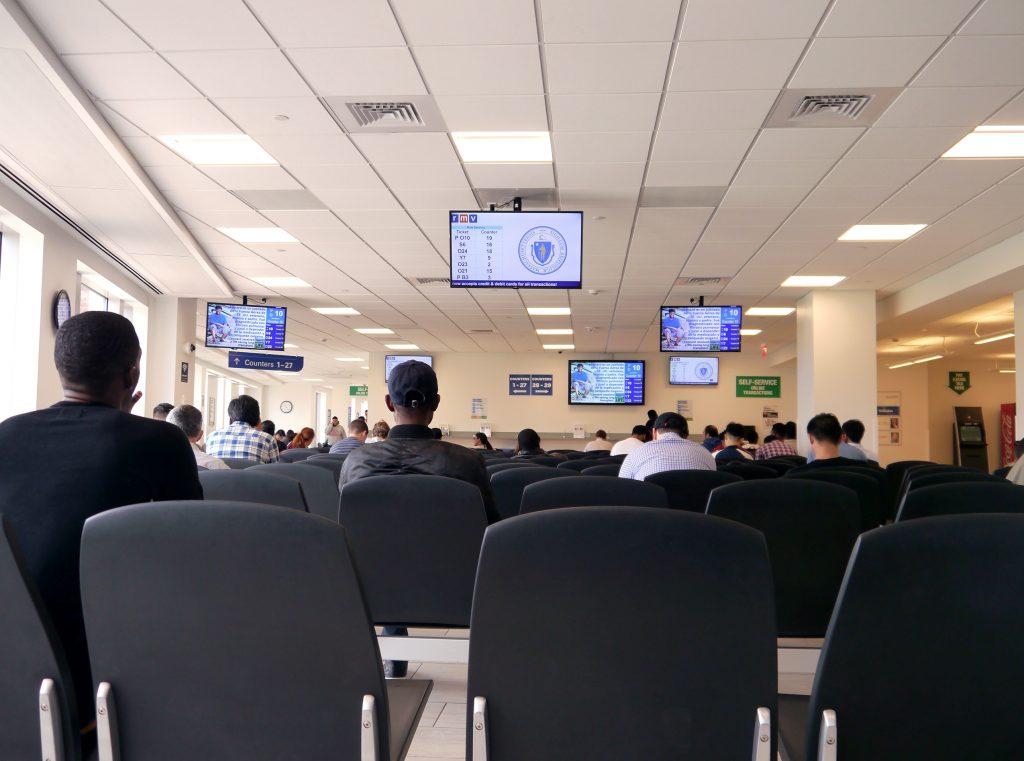 Customers Waiting at RMV Center