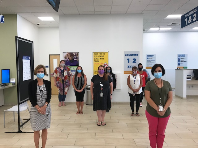 Employees in Masks at RMV Center