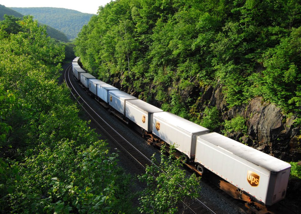 Freight Train Traveling Through Forest